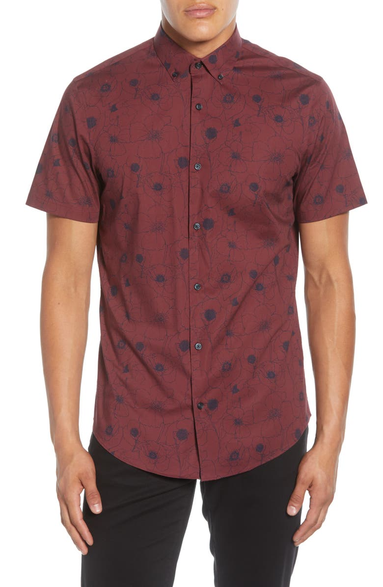 CALIBRATE Slim Fit Poppy Print Short Sleeve Button-Down Sport Shirt, Main, color, 938