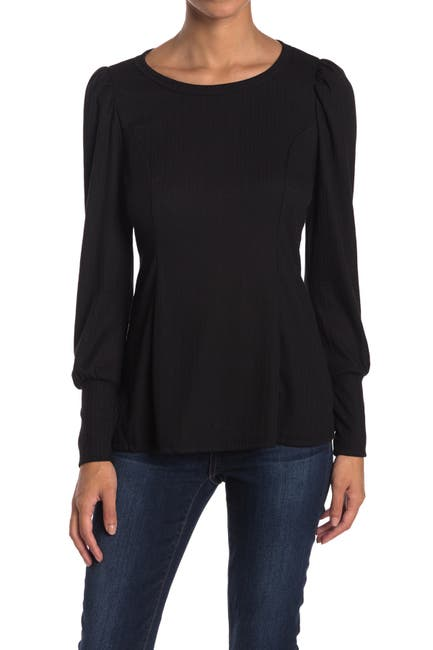 Image of Chenault Puff Shoulder Textured Knit Top