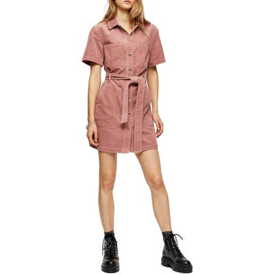 Topshop Corduroy Minidress, US (fits like 10-12) - Pink