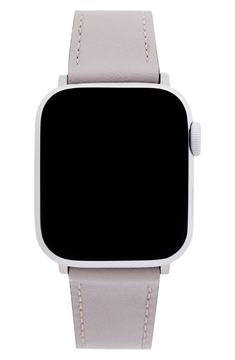 REBECCA MINKOFF Leather Apple Watch<sup>®</sup> Strap, Main, color, JUTE