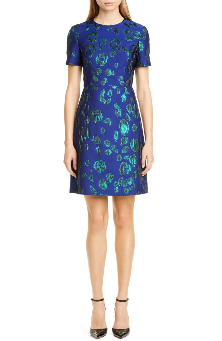 JASON WU COLLECTION Leopard Satin Jacquard Sheath Dress, Main, color, ULTRAVIOLET/ PEACOCK