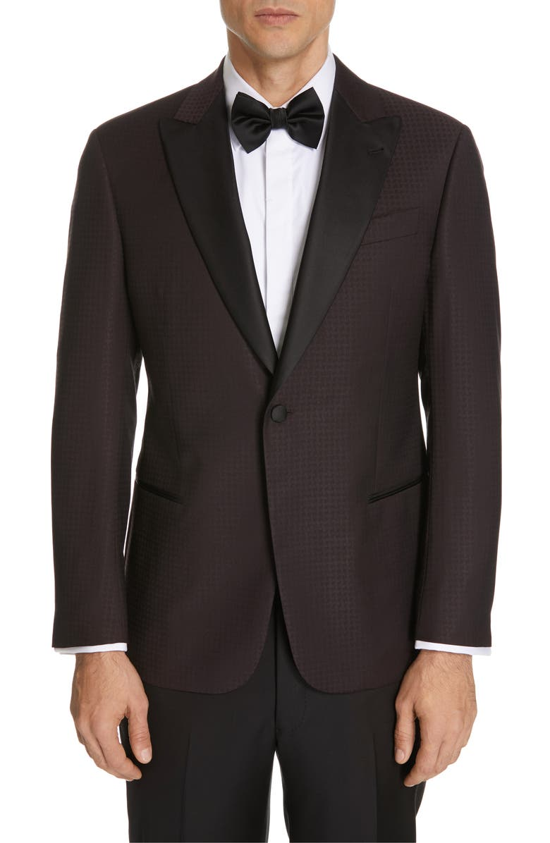 EMPORIO ARMANI Trim Fit Houndstooth Wool Dinner Jacket, Main, color, 930
