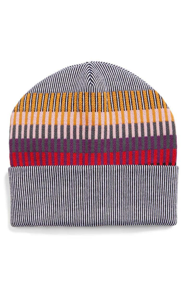 MISSONI Vertical Stripe Wool Blend Beanie, Main, color, BLK/ WHITE MULTI