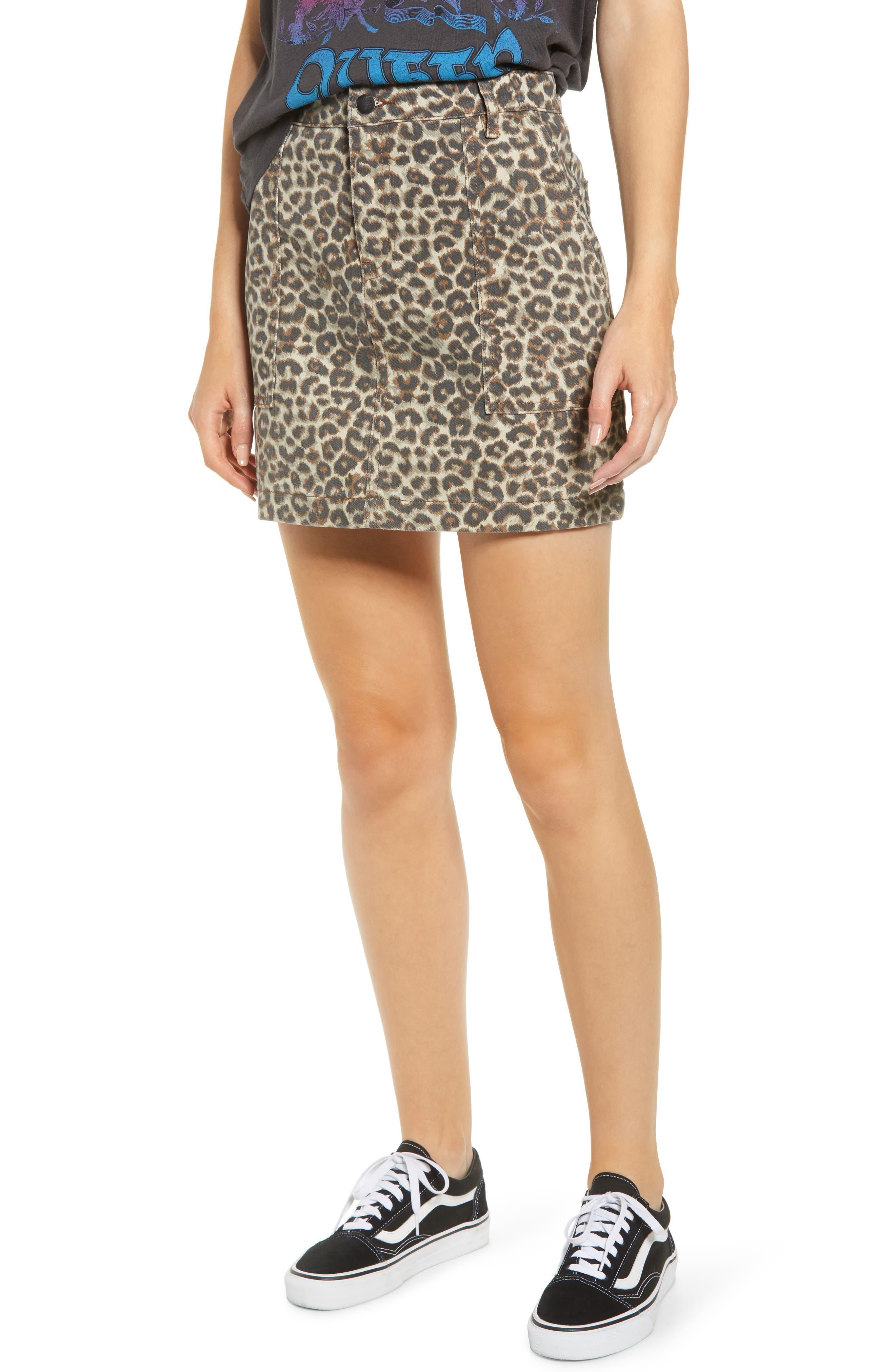 Denim Leopard Print Denim Miniskirt