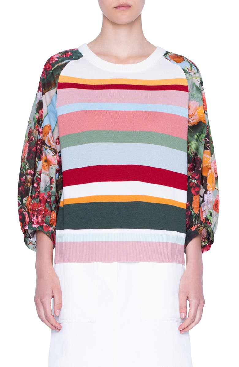 AKRIS PUNTO Perforated Yoke Wool Sweater, Main, color, 250