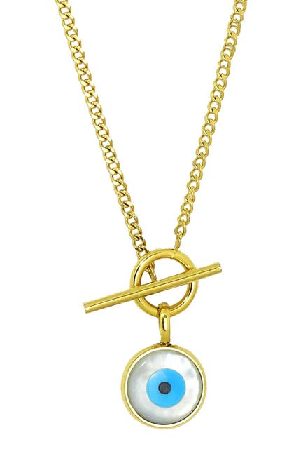 Image of Savvy Cie 14K Gold Plated Evil Eye Toggle Necklace