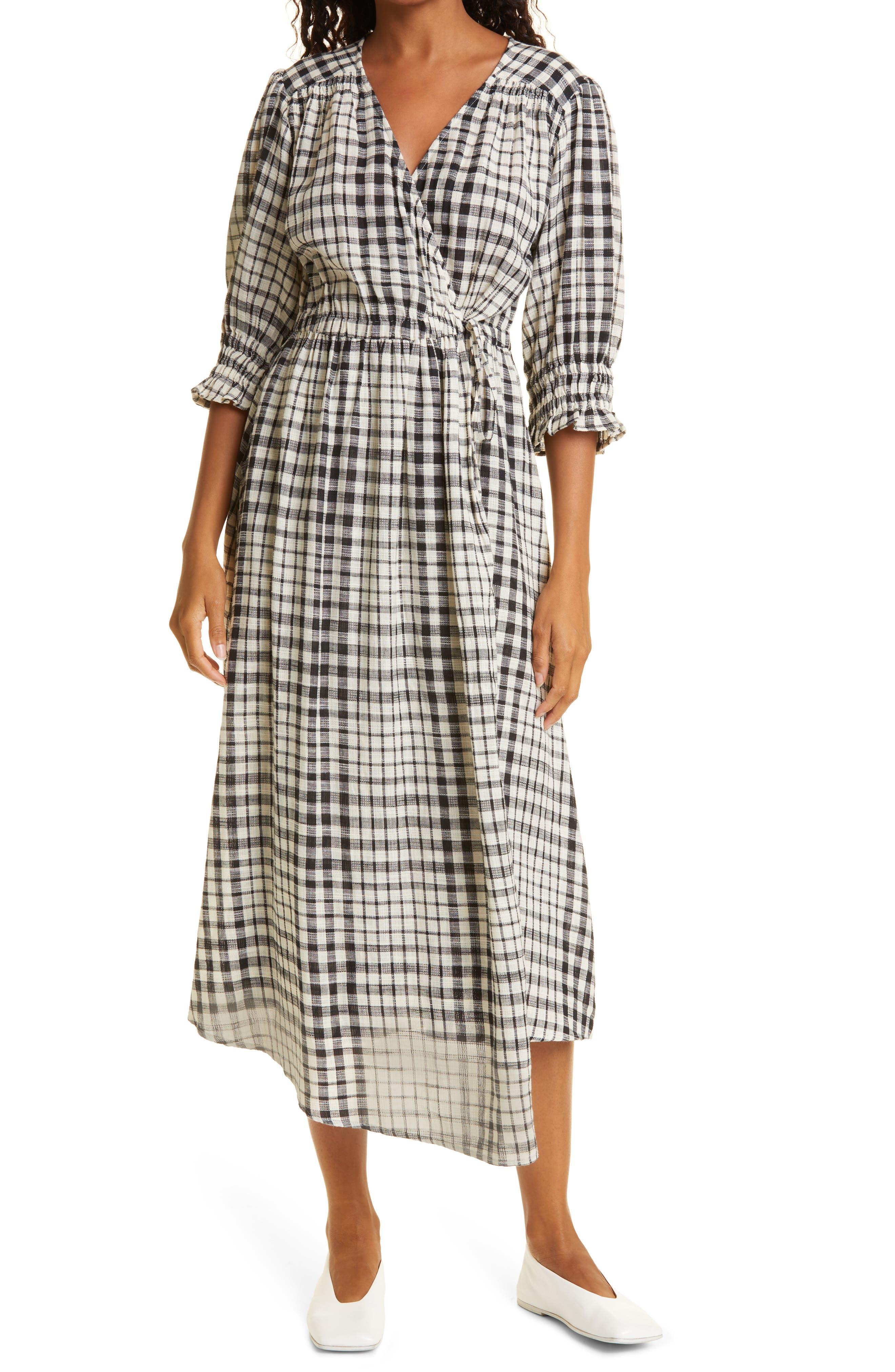 Lucinda Plaid Cotton Wrap Midi Dress
