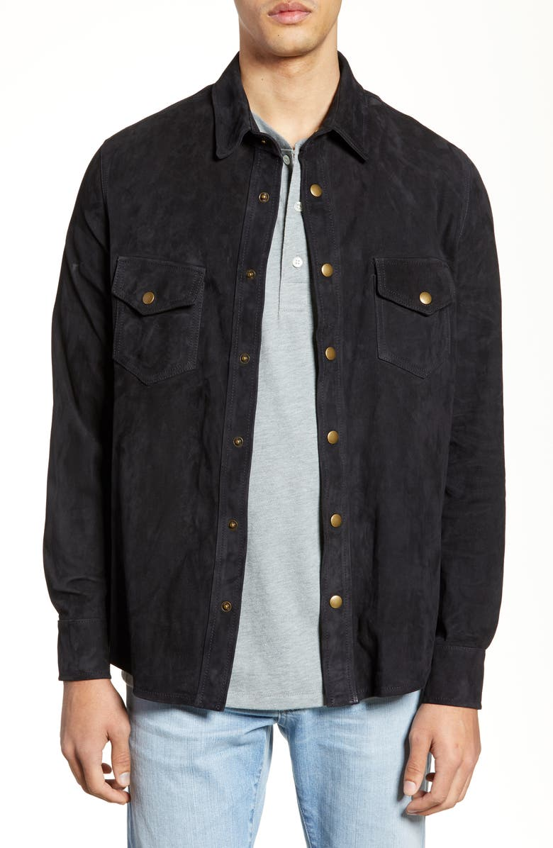 BILLY REID Suede Work Shirt, Main, color, NAVY