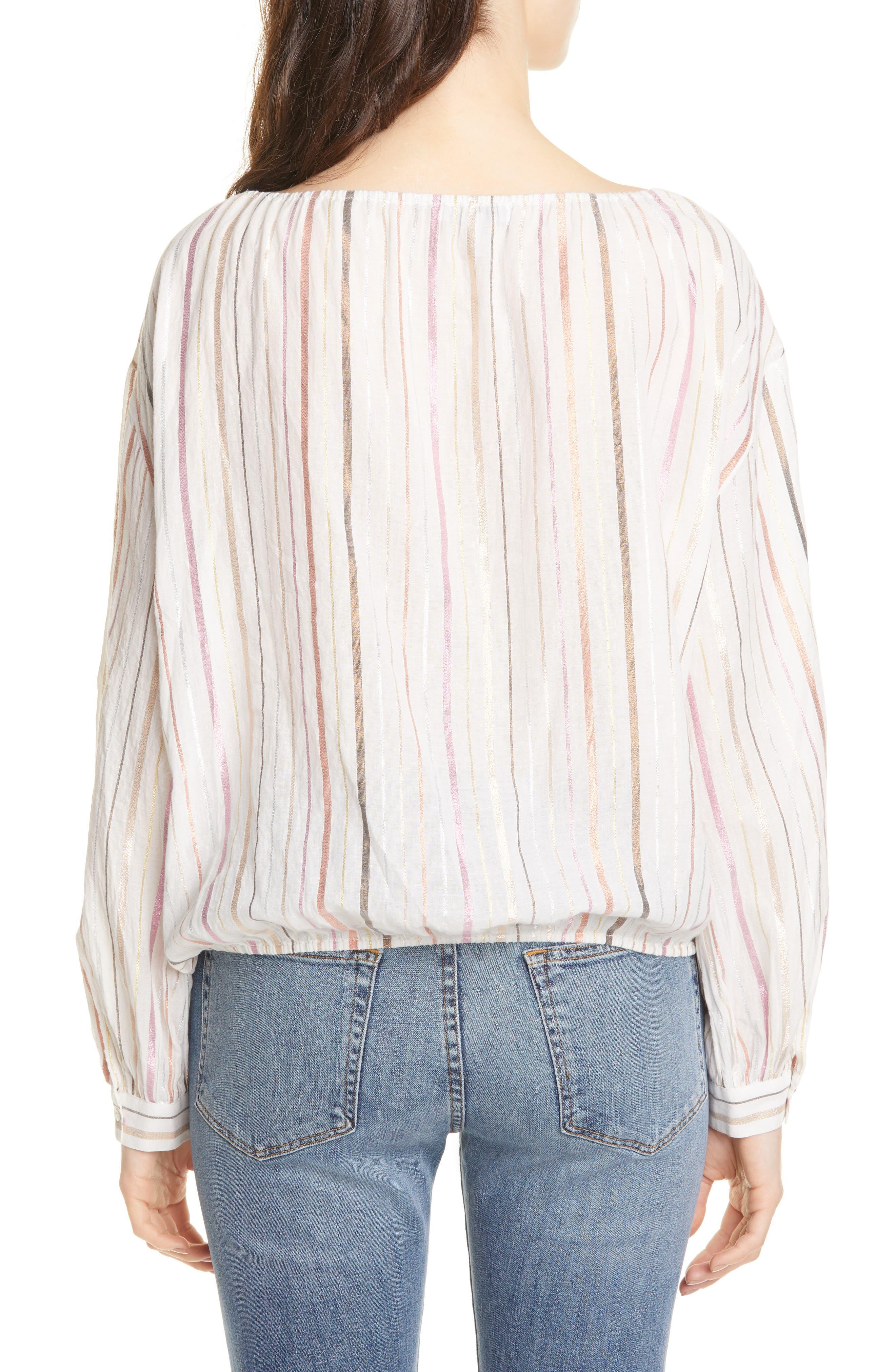 ,                             Satomi Shimmer Stripe Blouse,                             Alternate thumbnail 2, color,                             PORCELAIN
