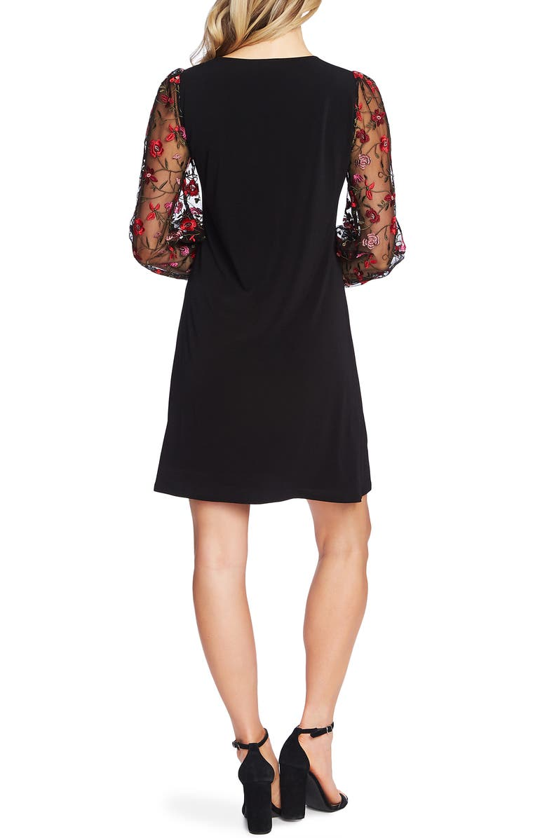 Embroidered Long Sleeve Shift Dress, Alternate, color, RICH BLACK