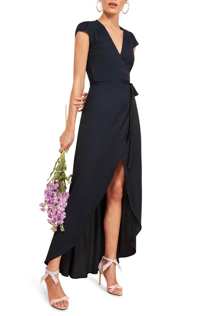 REFORMATION Chamomile Wrap Maxi Dress, Main, color, 400