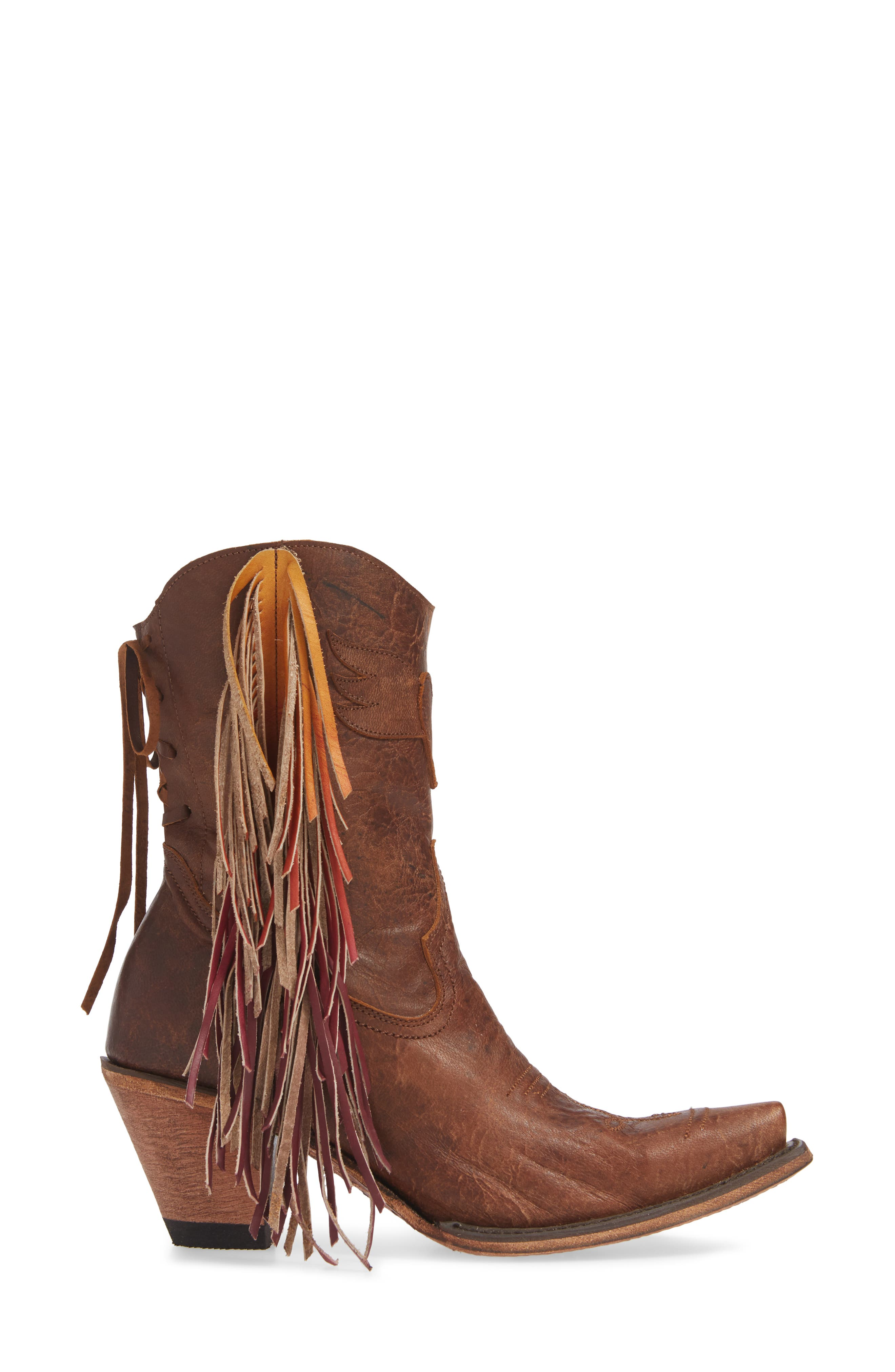 ,                             x Junk Gypsy Fringe Western Bootie,                             Alternate thumbnail 3, color,                             BROWN LEATHER