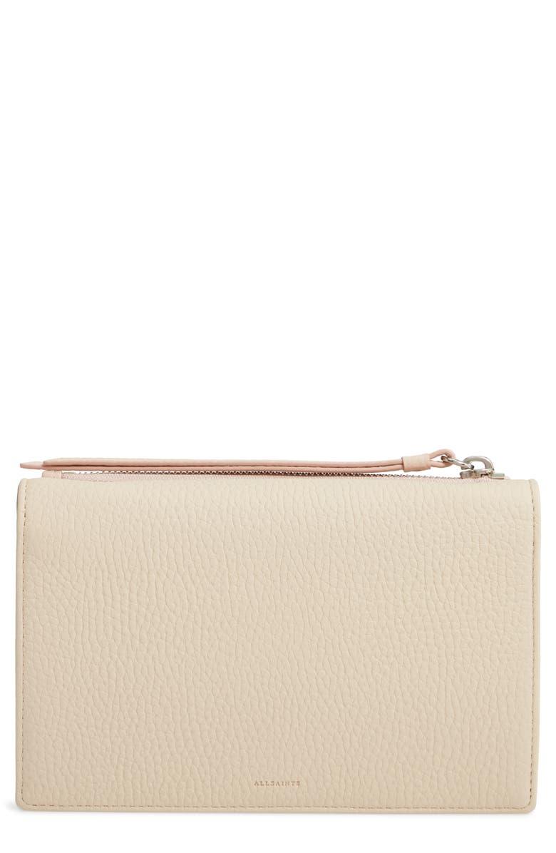 ALLSAINTS Fetch Leather Wallet on a Chain, Main, color, SAND BEIGE/ SUGAR BEIGE