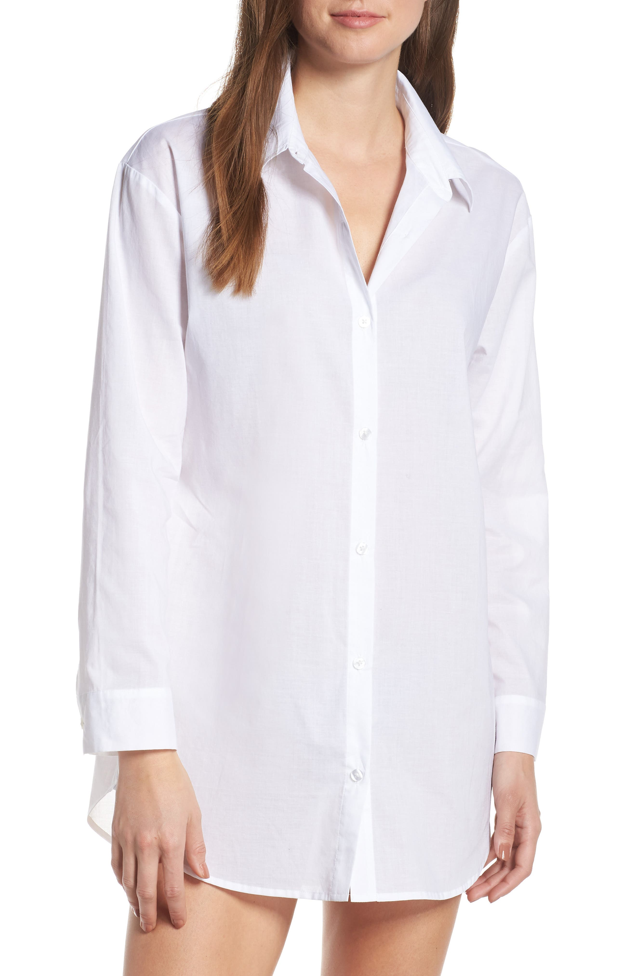 Cotton Nightshirt, Main, color, WHITE