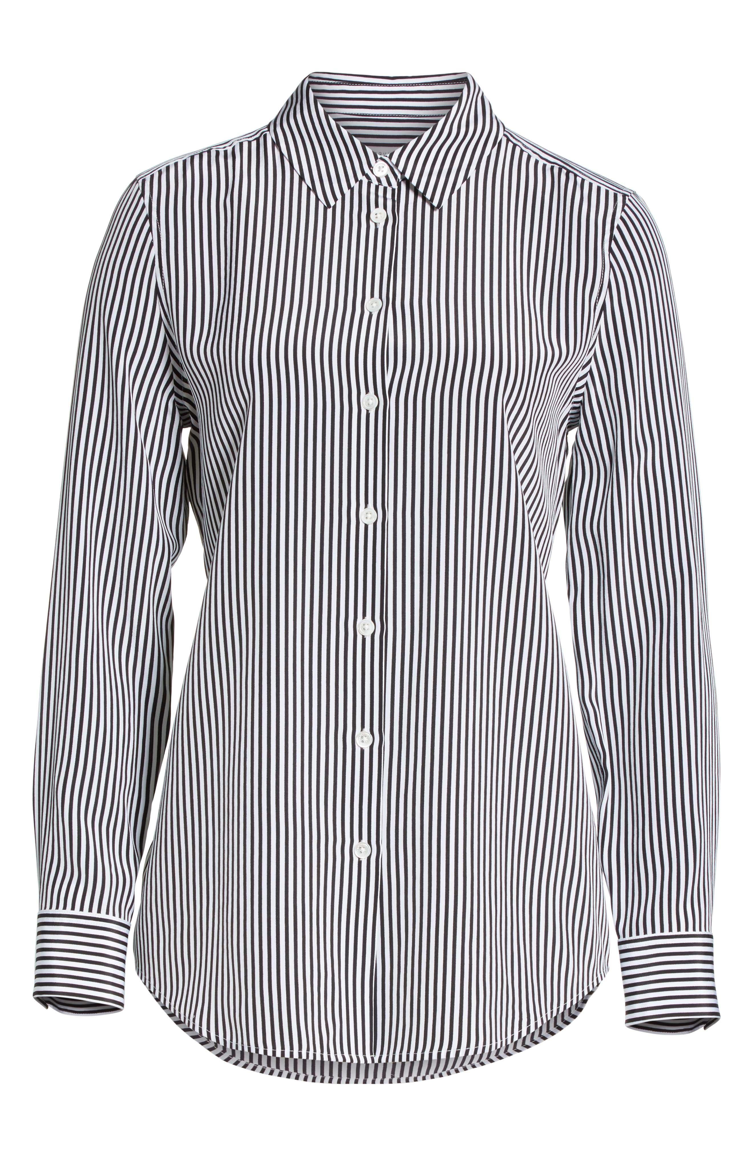 ,                             Essential Stripe Silk Shirt,                             Alternate thumbnail 6, color,                             BRIGHT WHITE - TRUE BLACK