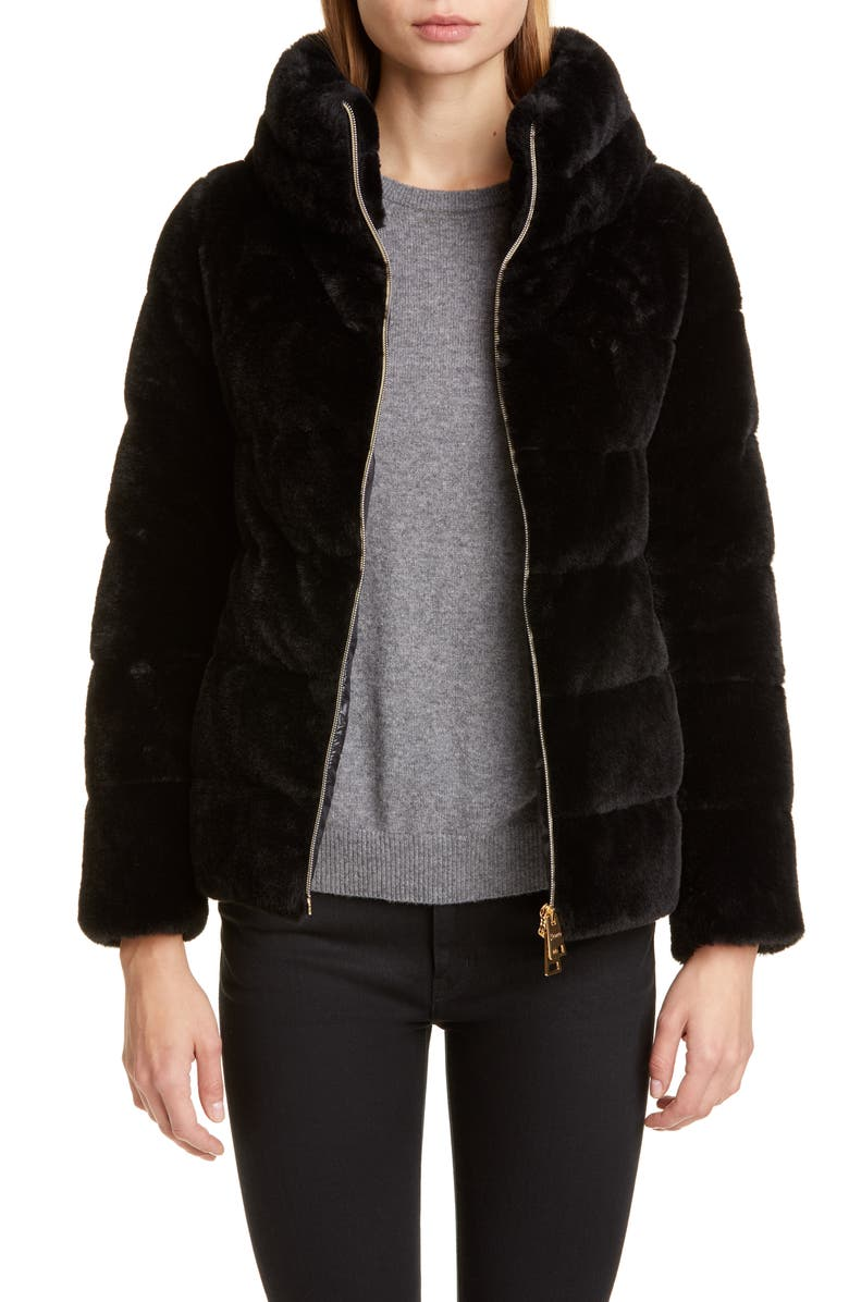 HERNO Quilted Down Faux Fur Puffer Jacket, Main, color, BLACK