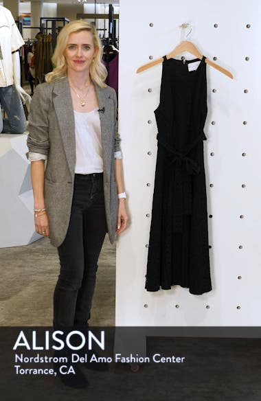 Belted Fit & Flare Eyelet Midi Dress, sales video thumbnail