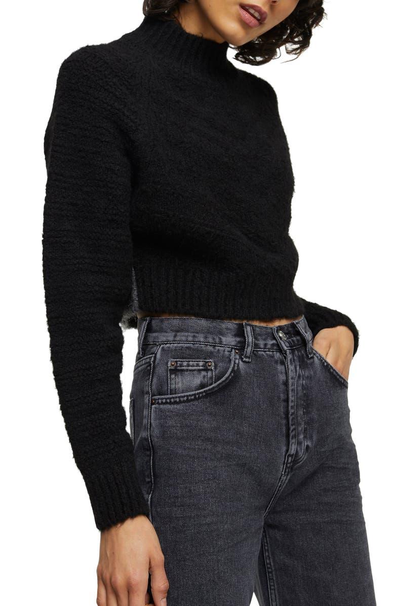 TOPSHOP Chevron Crop Sweater, Main, color, BLACK