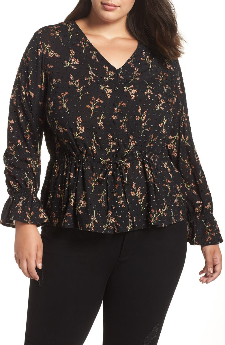 CASLON<SUP>®</SUP> Textured Print Top, Main, color, 001