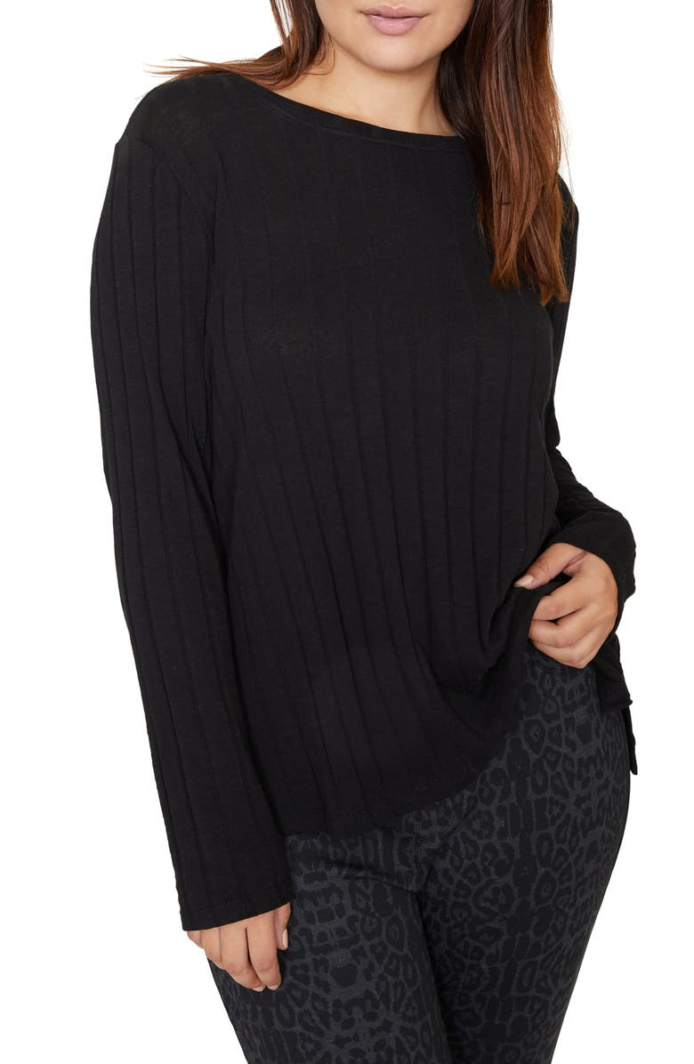 SANCTUARY Aimee Wide Ribbed Long Sleeve Cotton Blend Top, Main, color, BLACK