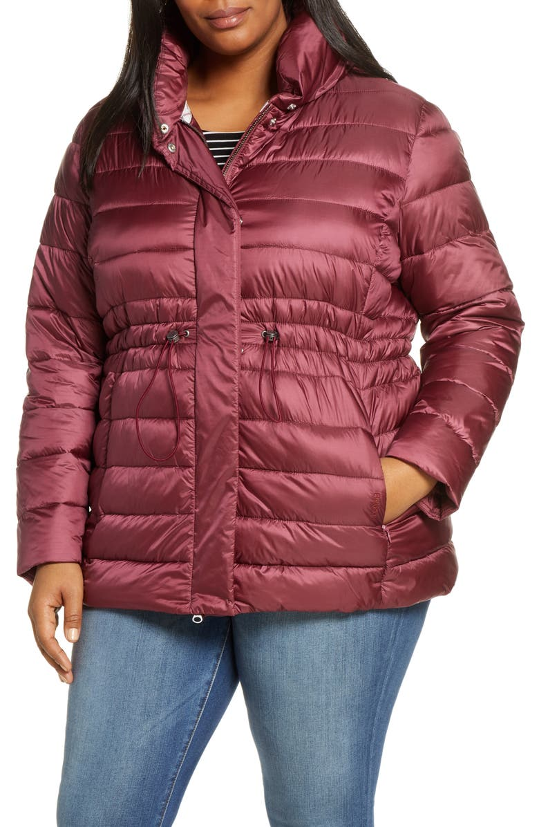 BARBOUR Ried Channel Quilted Puffer Jacket, Main, color, ROUGE