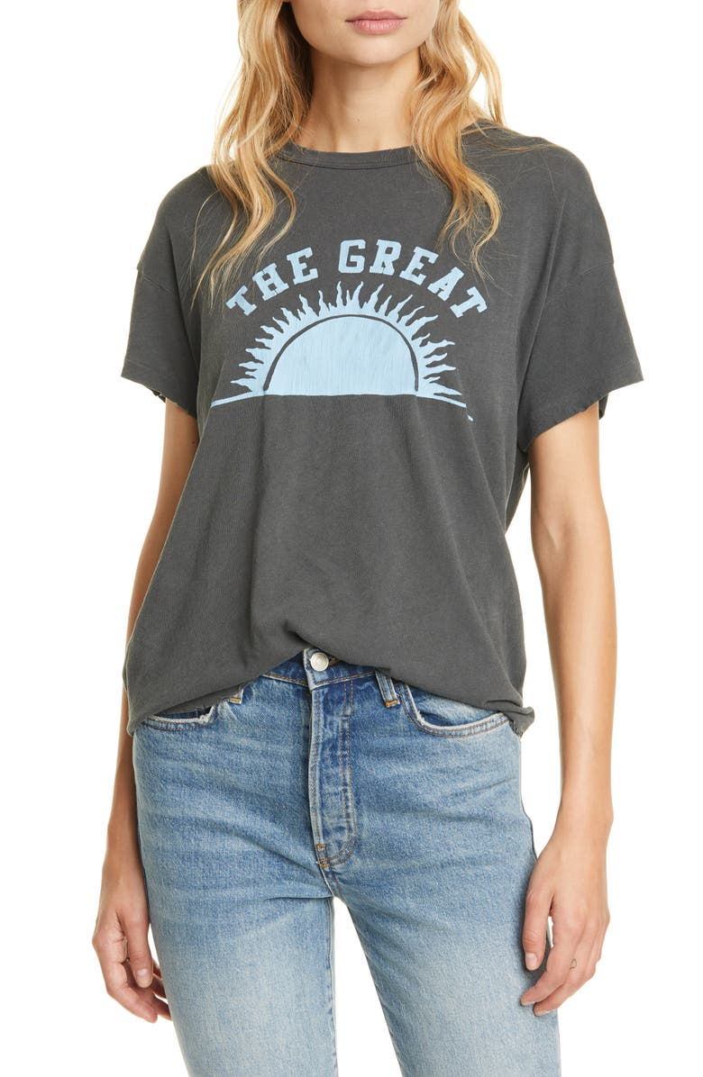THE GREAT. The Boxy Graphic Tee, Main, color, WASHED BLACK