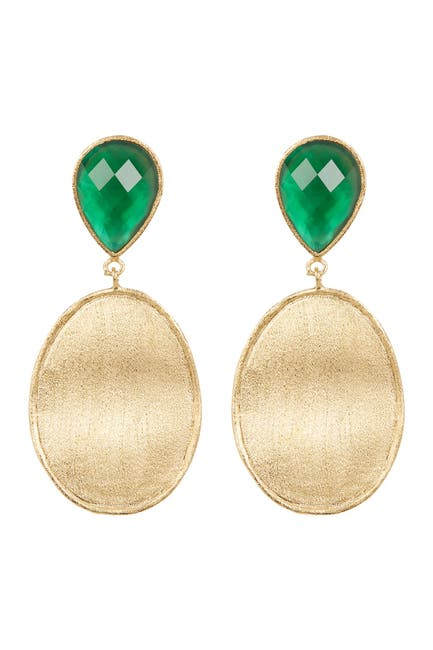 Image of Rivka Friedman Faceted Emerald Crystal Mother of Pearl Doublet & Satin Wavy Oval Drop Earrings