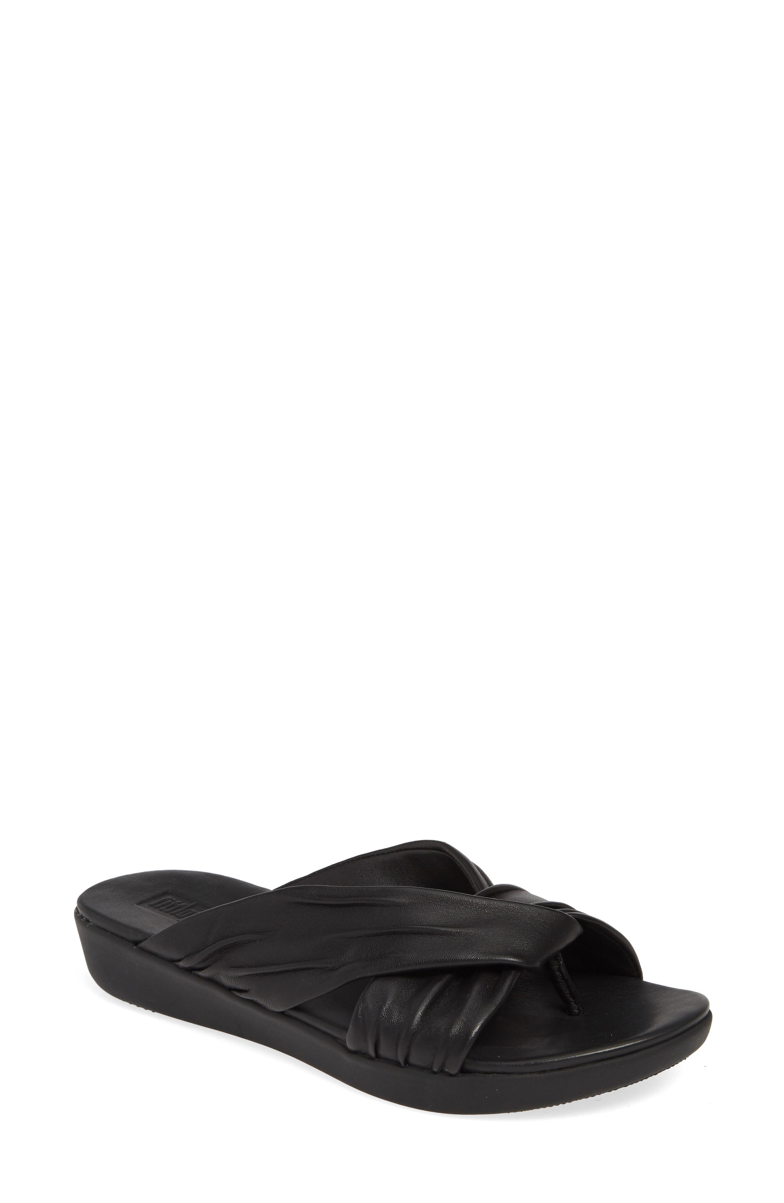 Twine Slide Sandal, Main, color, BLACK LEATHER