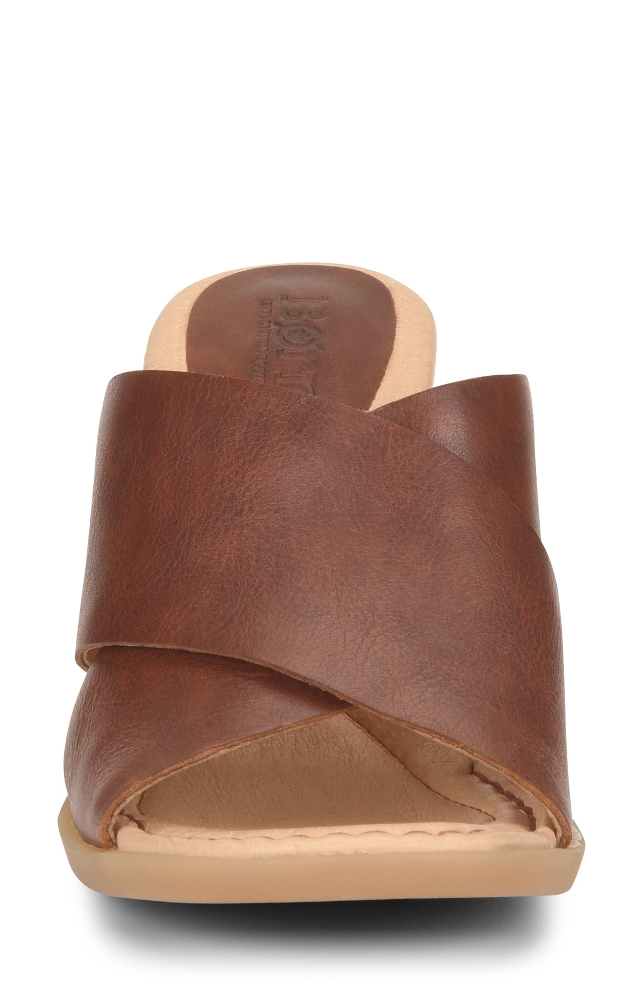 ,                             Madison Cross Strap Slide Sandal,                             Alternate thumbnail 4, color,                             BROWN LEATHER