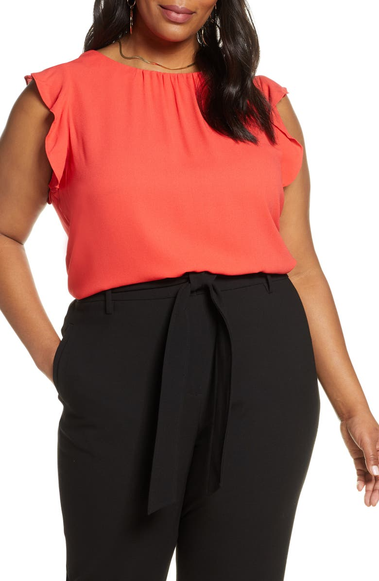 HALOGEN<SUP>®</SUP> Ruffle Sleeve Top, Main, color, RED BITTERSWEET