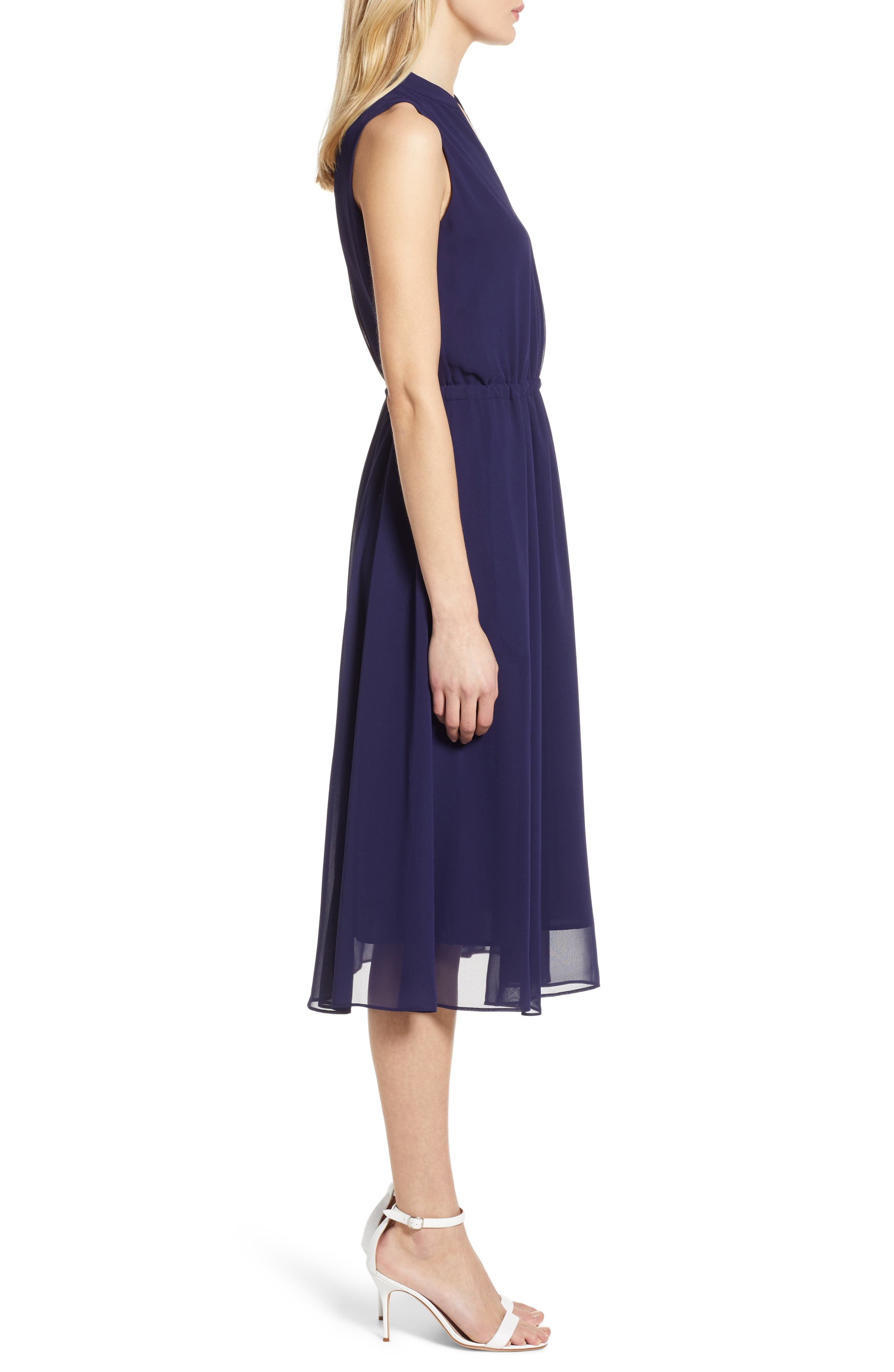 ,                             Chiffon Drawstring Midi Dress,                             Alternate thumbnail 4, color,                             DISTANT MOUNTAIN