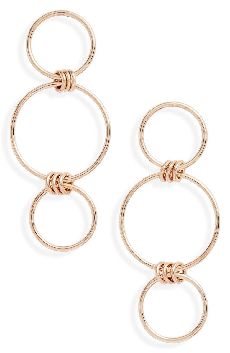 ZOË CHICCO Mixed Circle Drop Earrings, Main, color, YELLOW GOLD