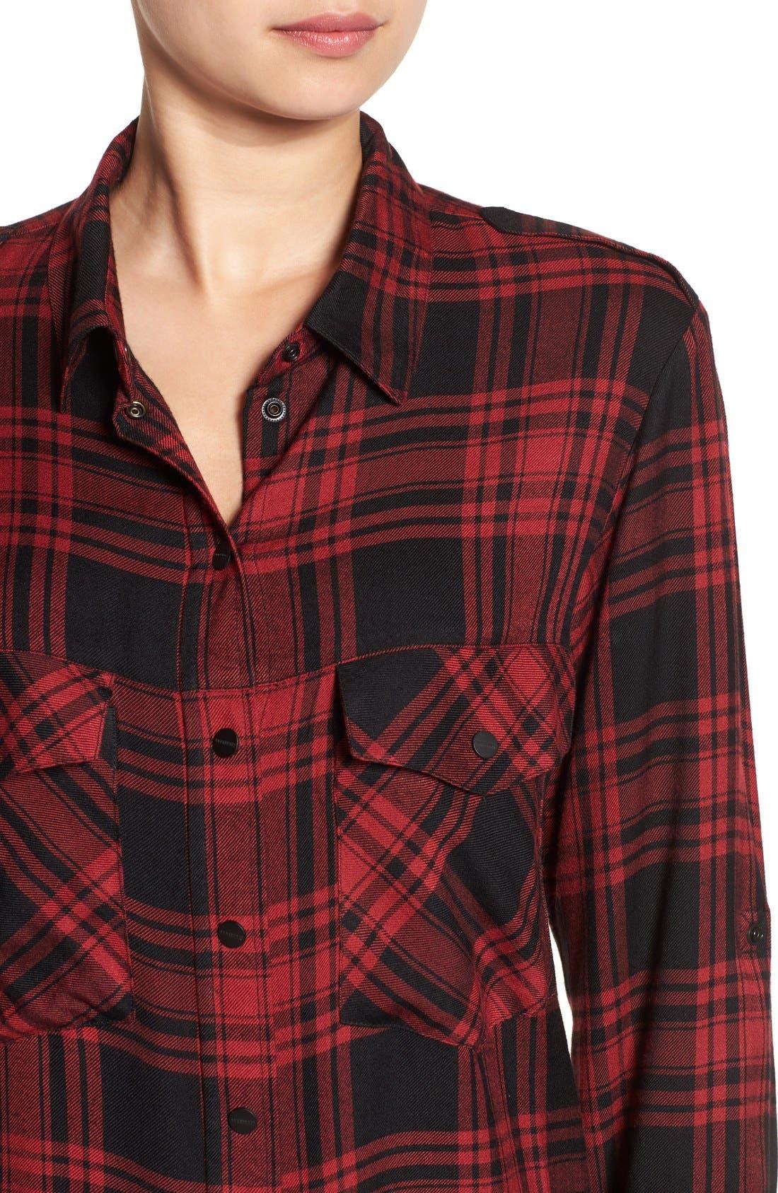 ,                             Plaid Flannel Boyfriend Shirt,                             Alternate thumbnail 15, color,                             603