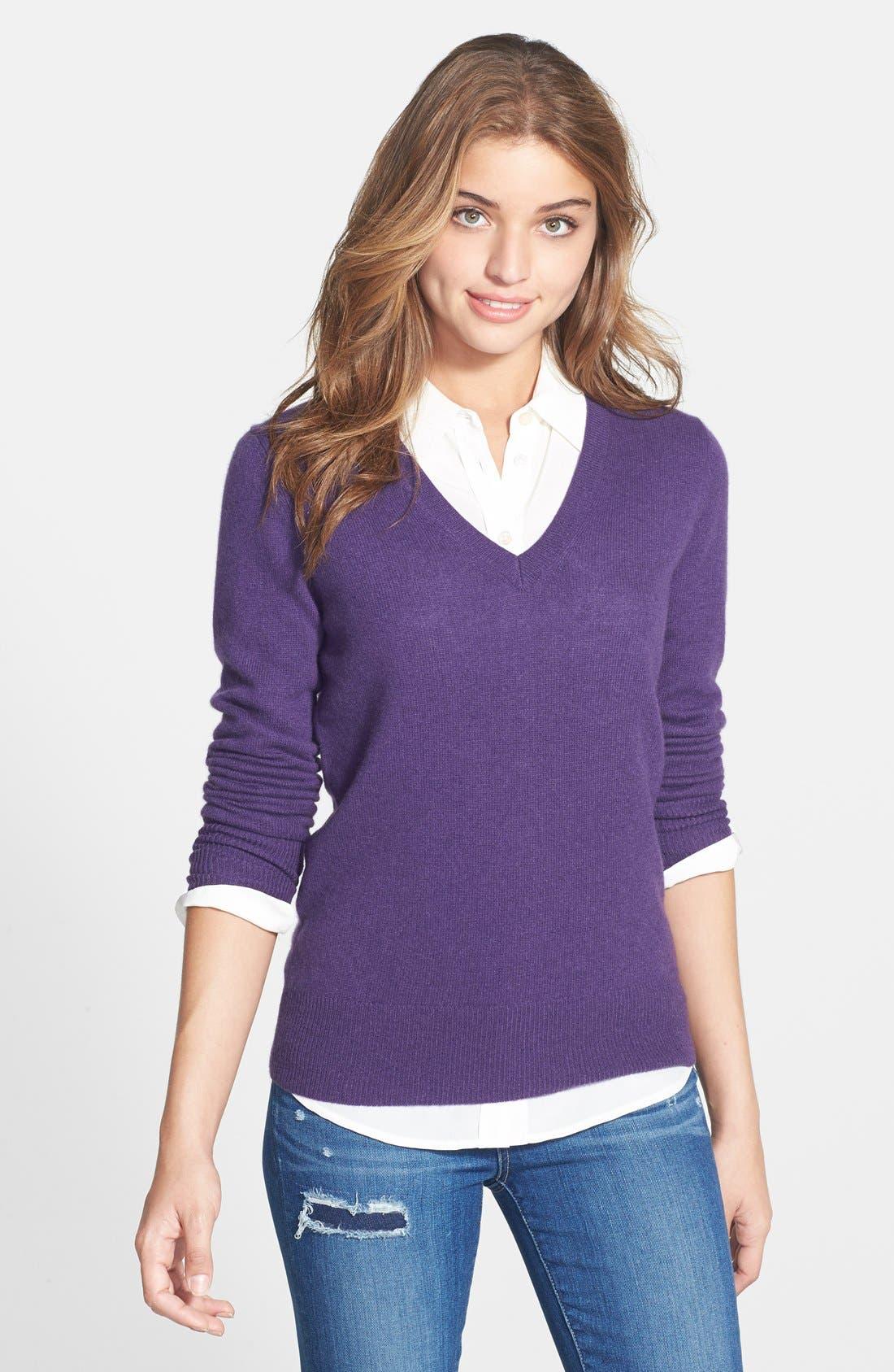 ,                             Cashmere V-Neck Sweater,                             Main thumbnail 60, color,                             500
