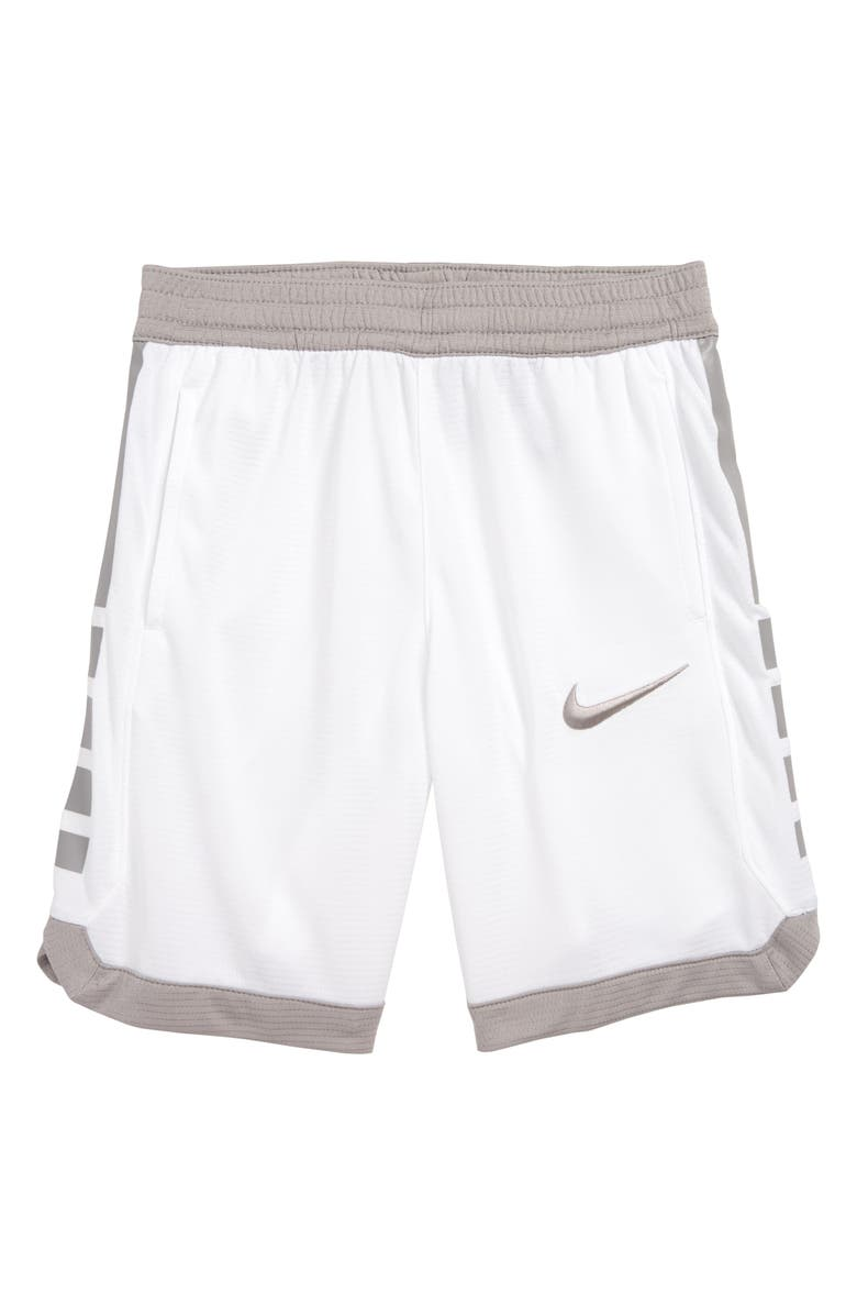 NIKE Dry Elite Stripe Athletic Shorts, Main, color, WHITE