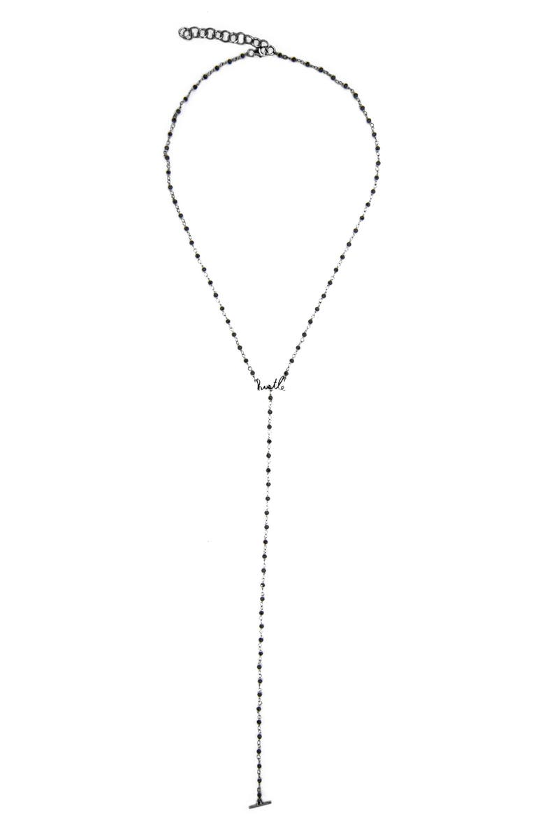 ADORNIA Rosary Hustle Lariat Necklace, Main, color, BLACK RHODIUM SILVER