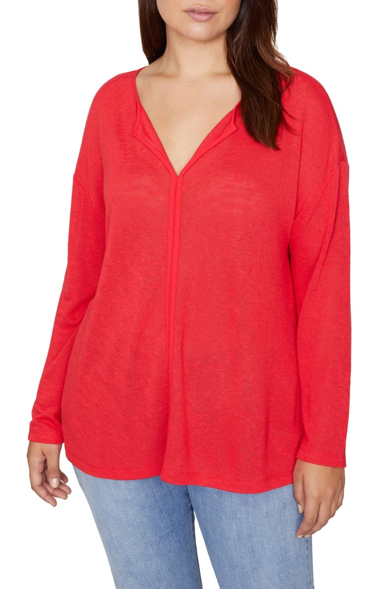 SANCTUARY Elina Split Neck Long Sleeve Tee, Main, color, PARTY RED