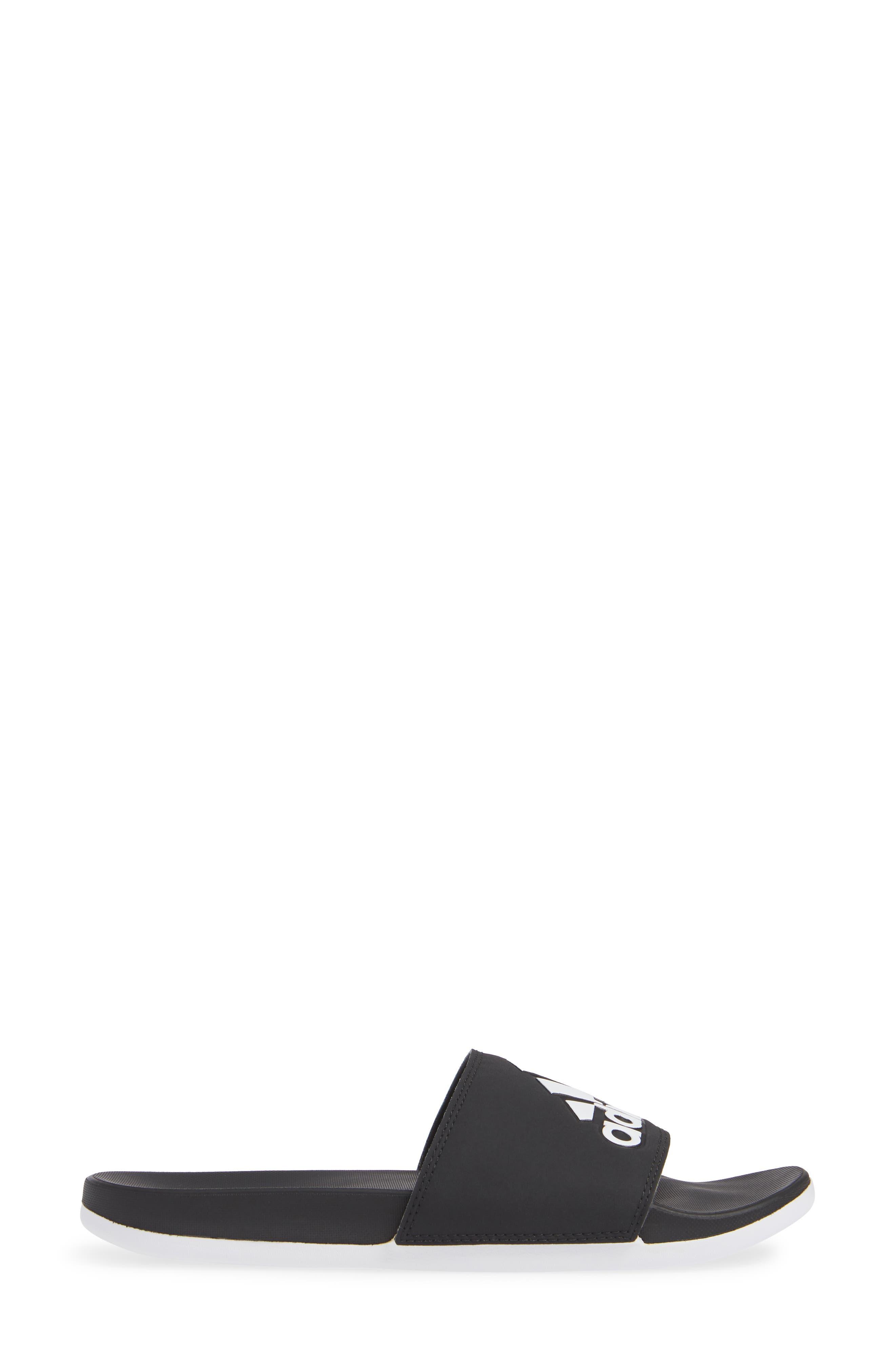 ,                             Adilette Comfort Slide Sandal,                             Alternate thumbnail 3, color,                             BLACK/ BLACK/ WHITE