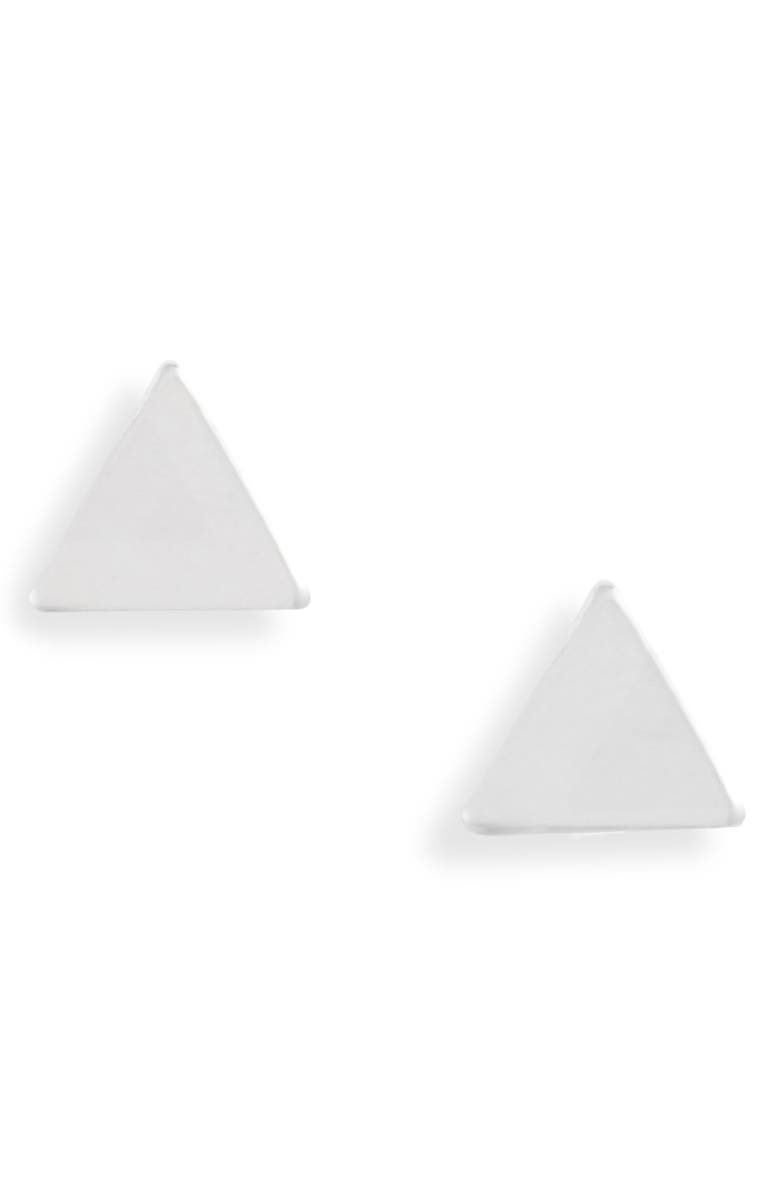 SET & STONES Lucca Triangle Stud Earrings, Main, color, SILVER