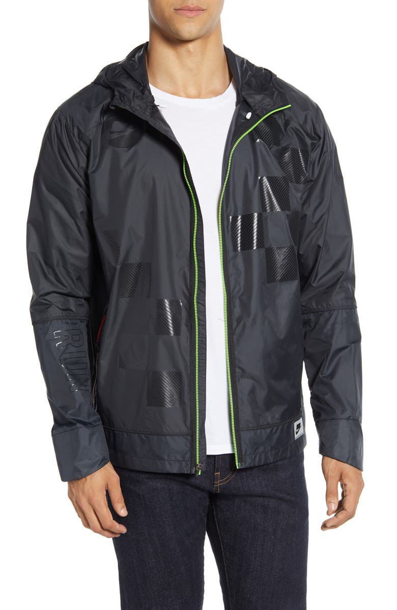 NIKE Shield Hooded Jacket, Main, color, BLACK/ OFF-NOIR/ OFF-NOIR