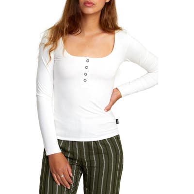 Rvca Guarded Long Sleeve Henley Top, Ivory