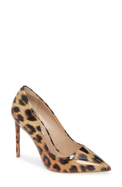Steve Madden Vala Pointy Toe Pump In Leopard Patent