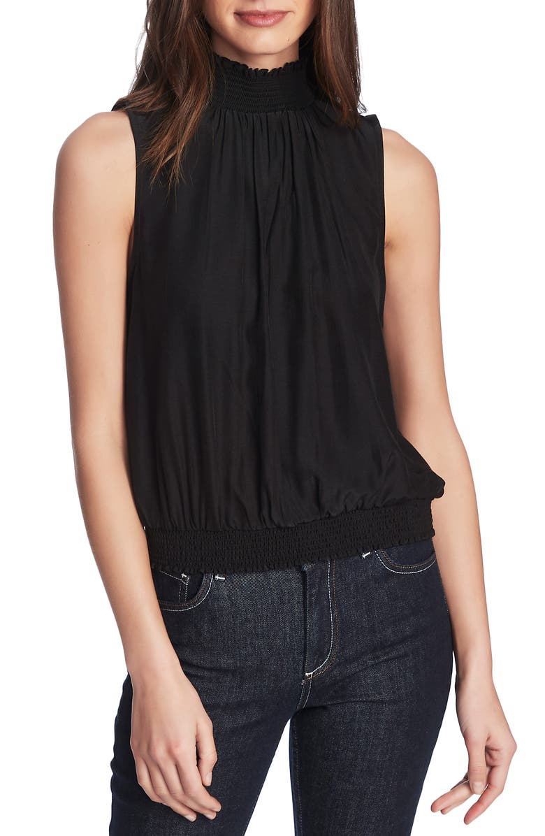 COURT & ROWE Smock Detail Satin Halter Top, Main, color, RICH BLACK