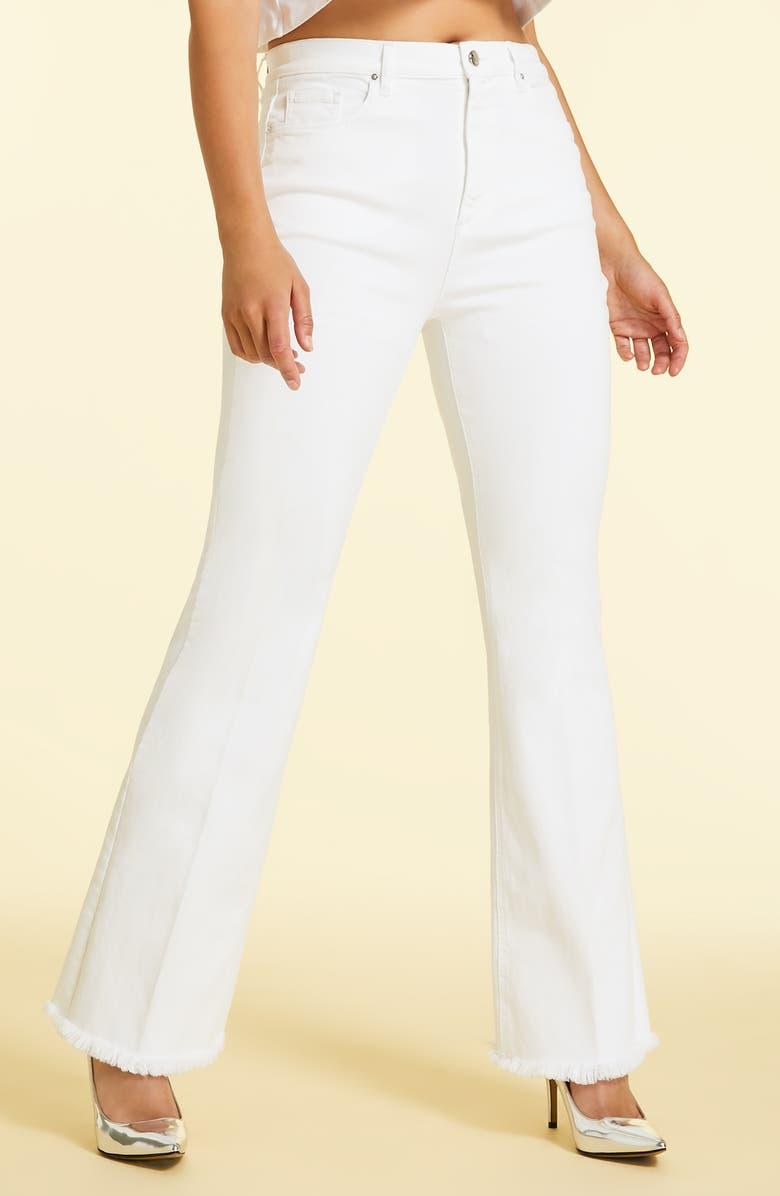 MARINA RINALDI Raffica Frayed Hem Wide Leg Jeans, Main, color, 100