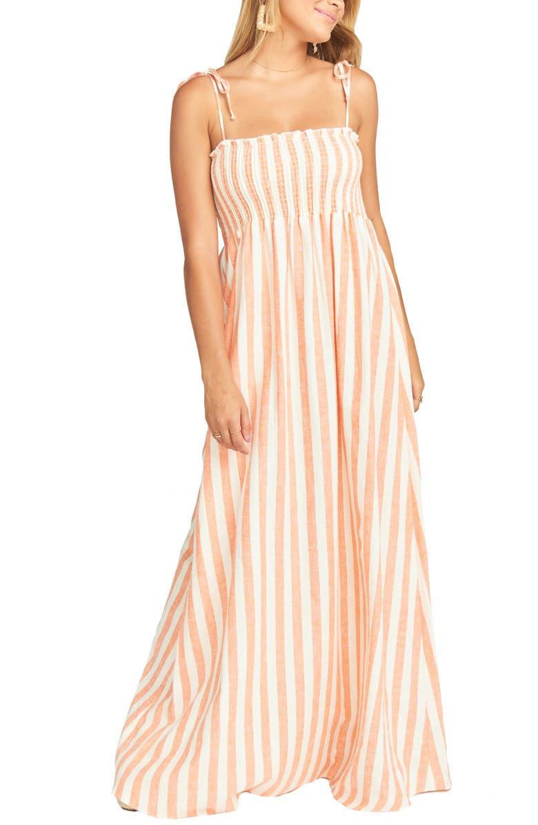 SHOW ME YOUR MUMU Maggie Stripe Linen Blend Maxi Dress, Main, color, 800