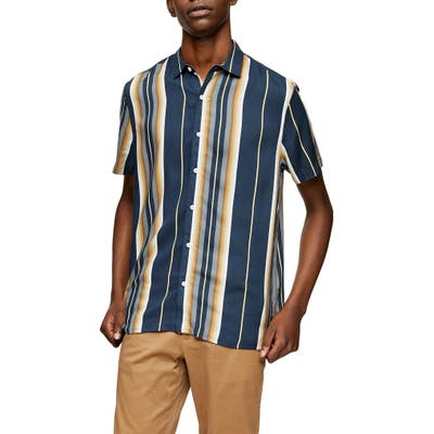Topman Grad Stripe Short Sleeve Button-Up Shirt, Blue
