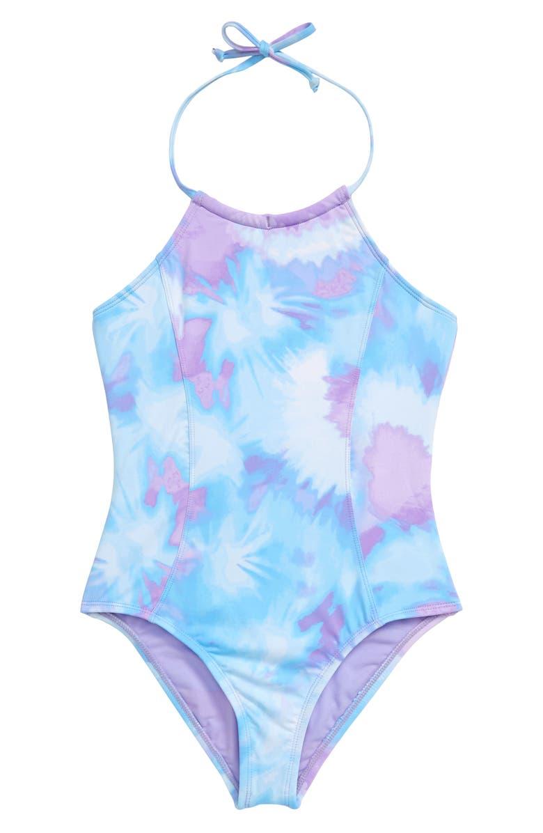 HOBIE Tie Dye One-Piece Halter Swimsuit, Main, color, BLUE