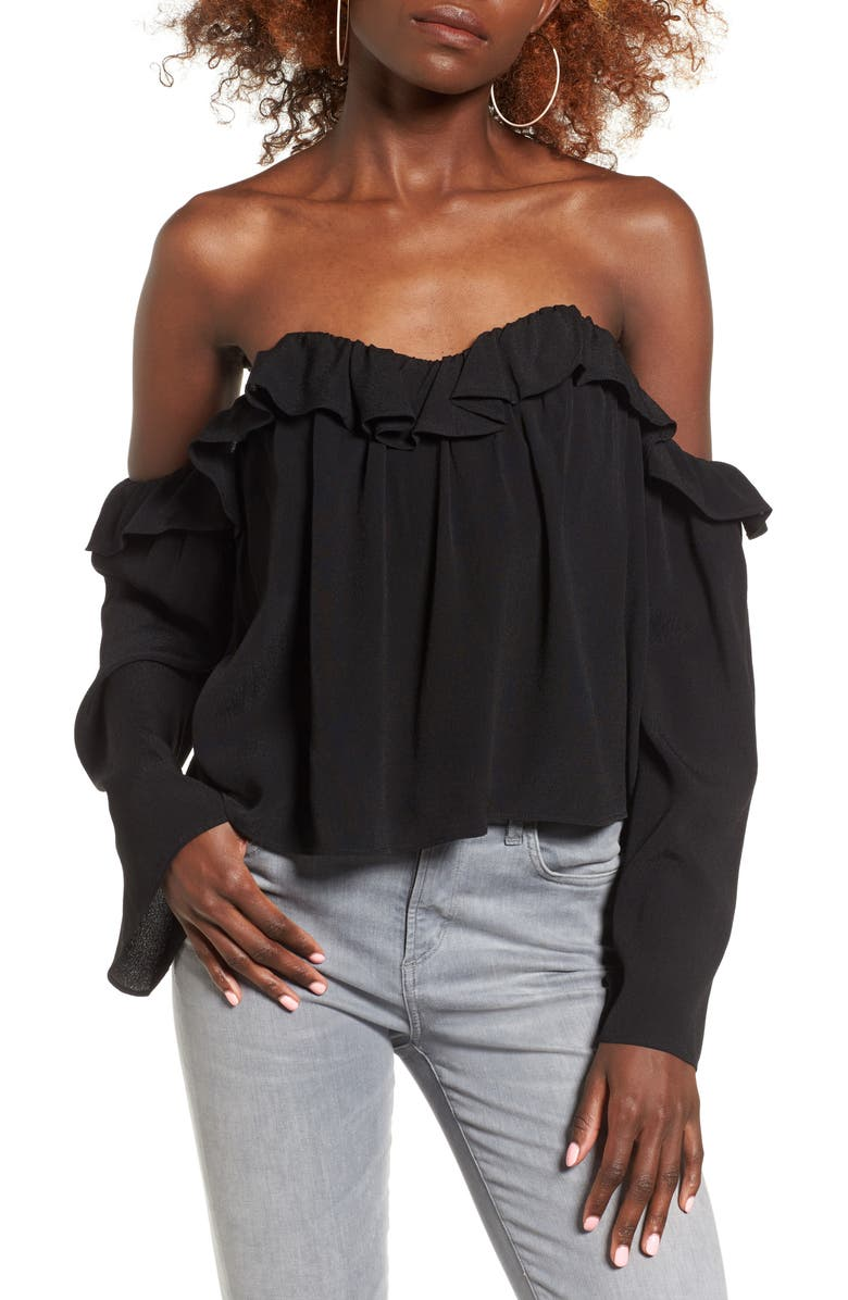 4SI3NNA Ruffle Off the Shoulder Blouse, Main, color, 001