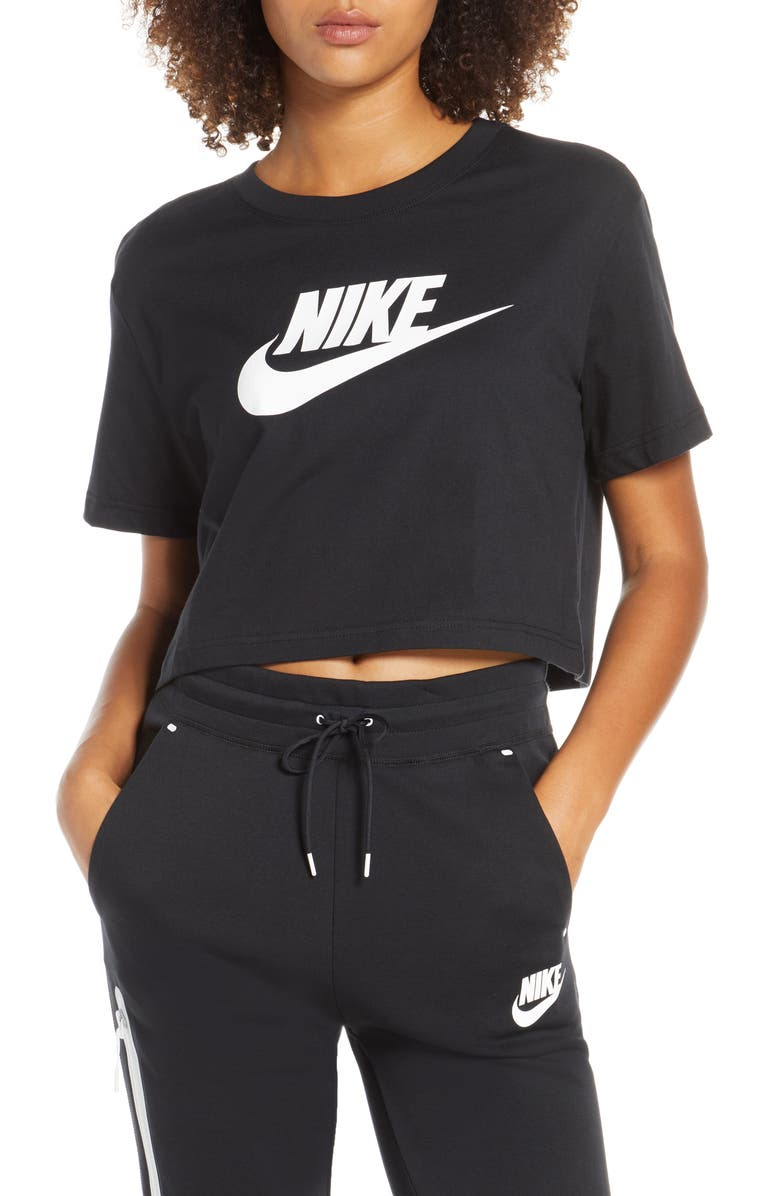 NIKE Sportswear Essential Crop Tee, Main, color, BLACK/ WHITE