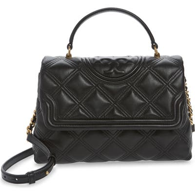 Tory Burch Fleming Top Handle Quilted Leather Satchel - Black